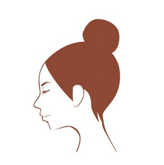 女子線描閉眼(左)