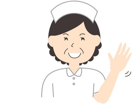 護士揮舞著