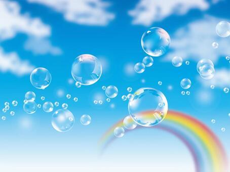 (CMYK)漂浮在藍天和彩虹的肥皂泡沫