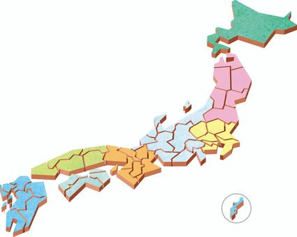 Japan map eight regional division cubic