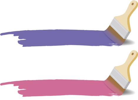 油漆和油漆刷(紫色和粉紅色)