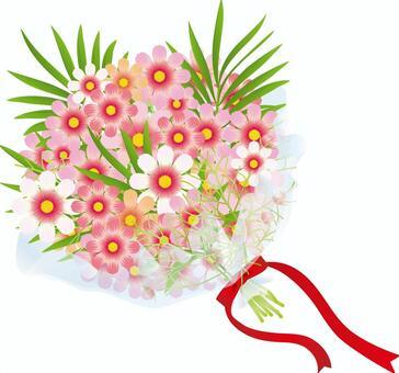 波斯菊&棕櫚葉花束1
