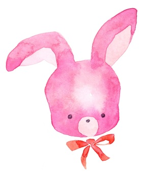 粉紅兔子臉透明水彩手繪