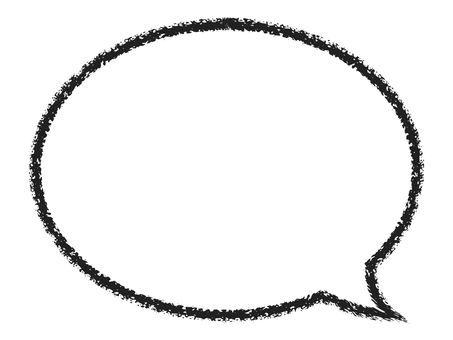Crayon handwritten speech bubble frame: black