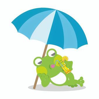 Frog drinking lemonade
