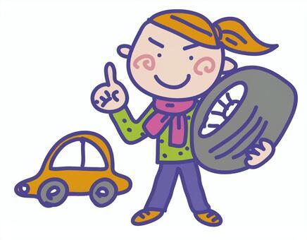 馬尾辮帶輪胎的女孩車
