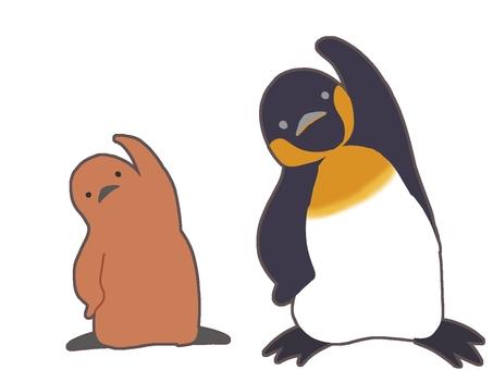 体操するペンギンの親子