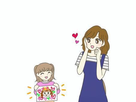 向媽媽介紹漫畫的小女孩