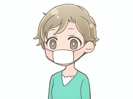 マスクをつけている女性D