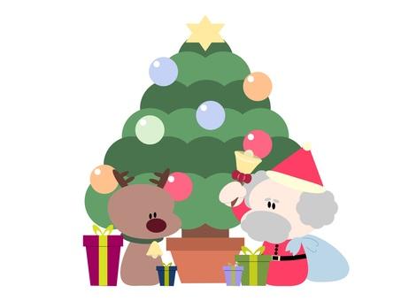 聖誕老人和馴鹿和聖誕樹 2