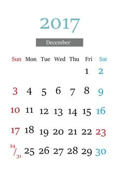 2017年12月的日曆