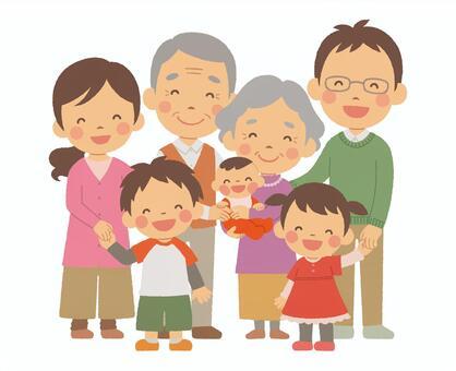 三代七人家庭成员全身秋衣