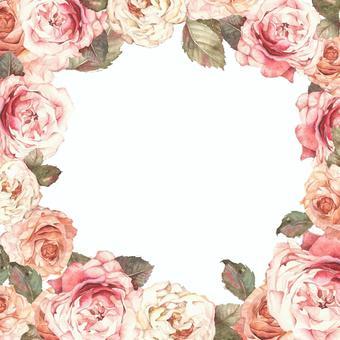 Antique rose flower frame