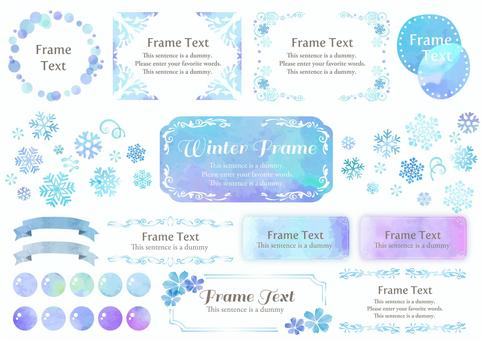 Watercolor material 029 Snow crystal frame