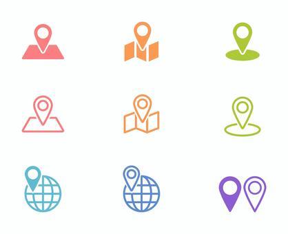 地圖,導航,地球儀,目的地等的圖標。