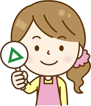 Apron woman giving a triangle pink