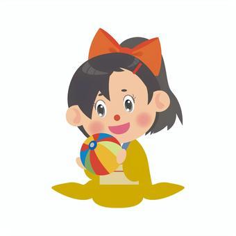 一個穿著和服的女人(紙質氣球/馬尾辮)