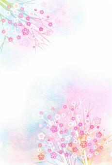 水彩風カラフル小花のポストカードタテ