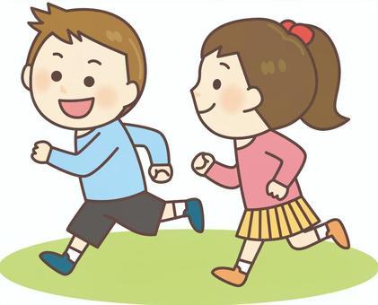 奔跑的男孩和女孩