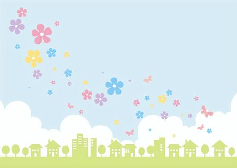 Flower and the scenery of the city _ spring