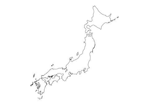 日本地圖空白地圖簡化版