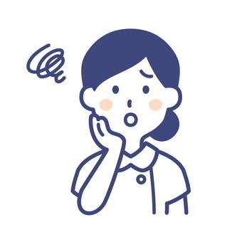 護士女人雙手放在臉上擺姿勢