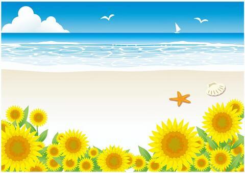 Sun beach and sunflower