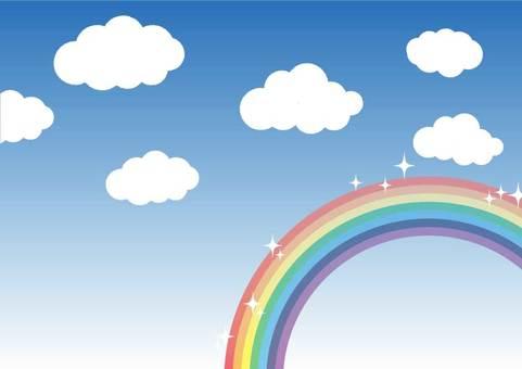 在溫暖的陽光明媚的日子裡,柔軟的雲彩和閃閃發光的彩虹