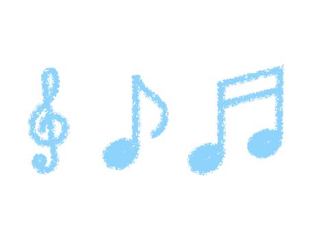 Handwritten treble clef & note set: light blue crayon