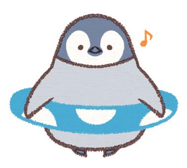 Floating penguin chick