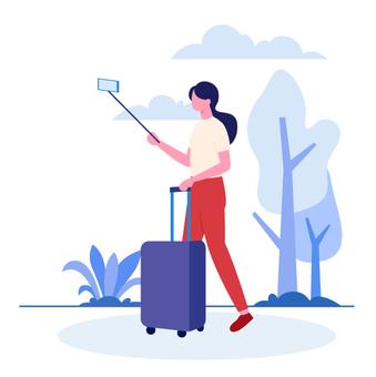 一個女人帶旅行視頻的自拍照