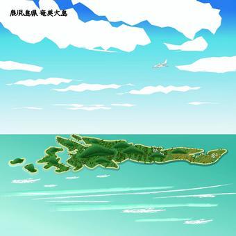 奄美大島 鹿児島県 島 海 上空