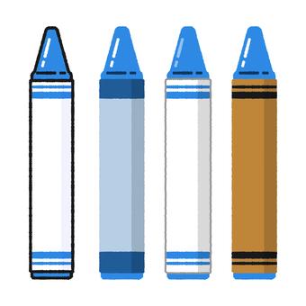 手繪風蠟筆藍色