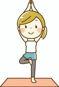喜歡瑜伽的女人_立場的姿勢