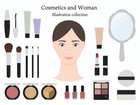 化粧品と女性のイラストセット