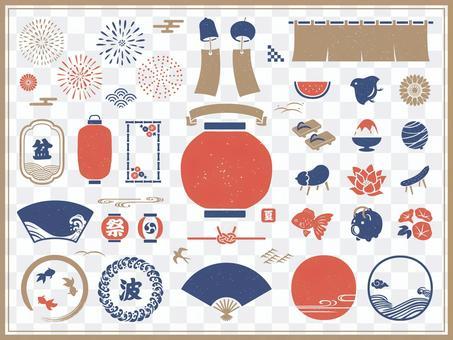 為夏季和盂蘭盆節設置的日式框架和圖標