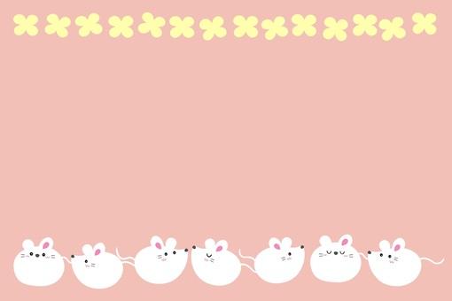 圓形鼠標框/白色/粉色