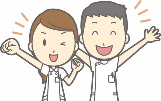 護士男性和女性 - 掛在那裡 - 胸圍