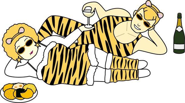 時髦的雙水平老虎