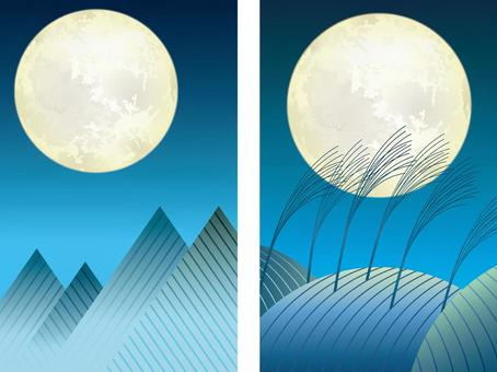 Moonlit night and mountain range background set
