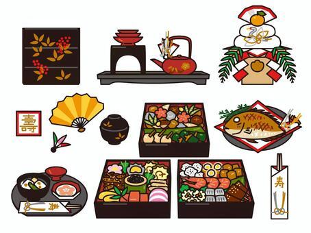 新年的美食和裝飾稻田集