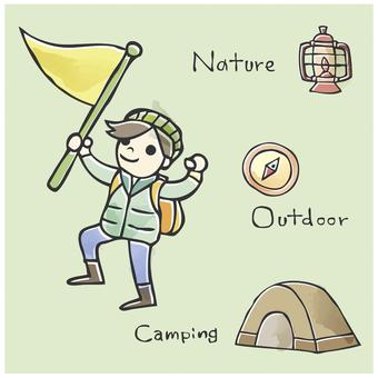 Illustrations, mountain climbing, camping, illustrations