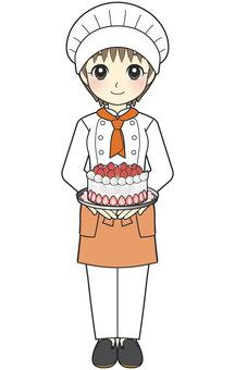 做蛋糕的廚師婦女