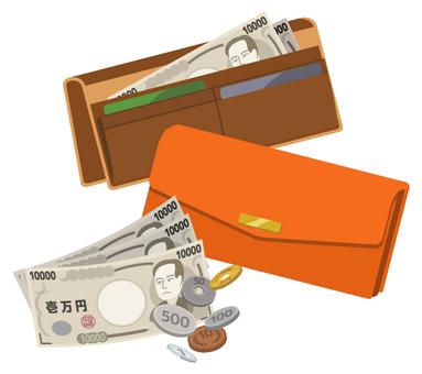 兩個錢包和現金(橙色和棕色