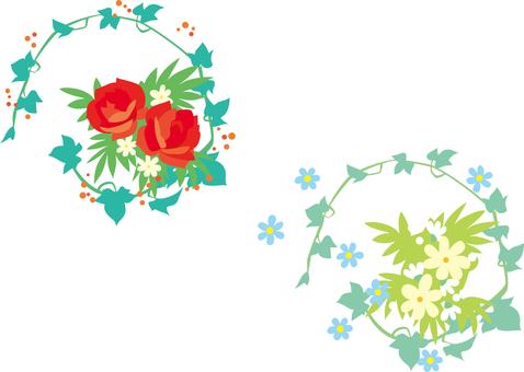 兩種類型的花束 紅色和白色