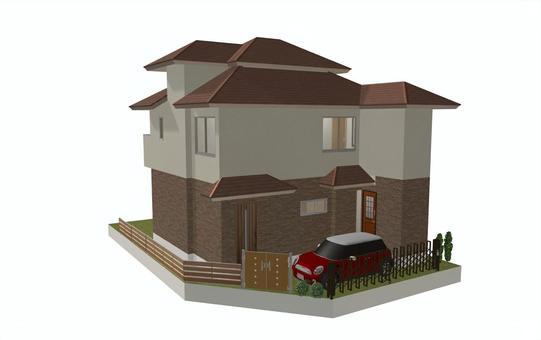 4LDK平面圖①(三維立方體/外觀①)