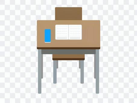 課桌筆記本和筆盒