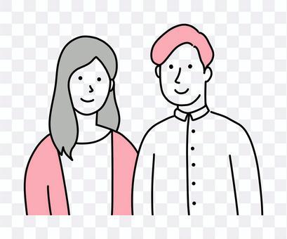戀人和情侶形像中的年輕男人和女人的插圖