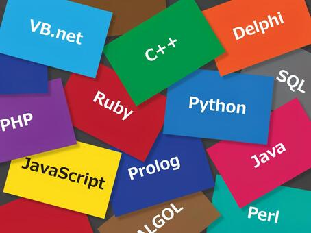 Colorful card with programming language