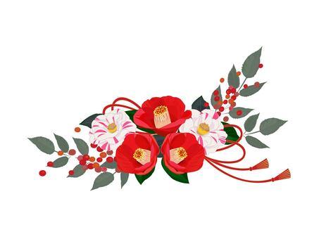 紅白茶花花卉裝飾